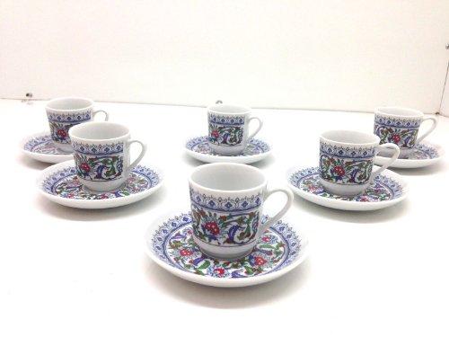 Turkish Coffee, Espresso Set of 6, Porcelain, Coffee Set, Floral, Stylish