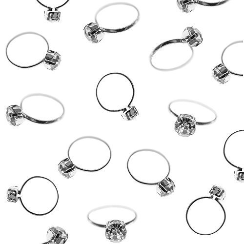 Silver Faux Diamond Engagement Rings for Wedding Table Scatter Decorations, Party Supply Favor Accents, Cupcake Toppers, Arts & Crafts (12 Pack)