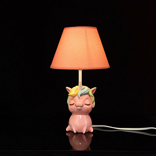 Price comparison product image Amazlab 43237-2 Unicorn Table Lamps with Pink Shade Cute Bedroom,  Bedside Kids Room Decoration,  Gifts for Boys Or Girls Stick UL Listed,  13.57.77.7 inch