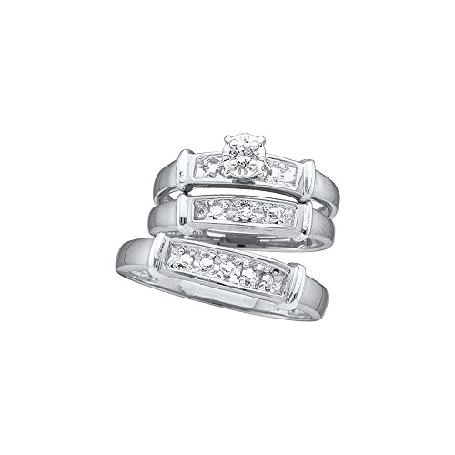Sizes - L = 7, M = 12 - 925 Sterling Silver Trio His & Hers Round Diamond Solitaire Matching Bridal Wedding Ring Band Set 1/12 Cttw (His And Her Diamond Wedding Rings)