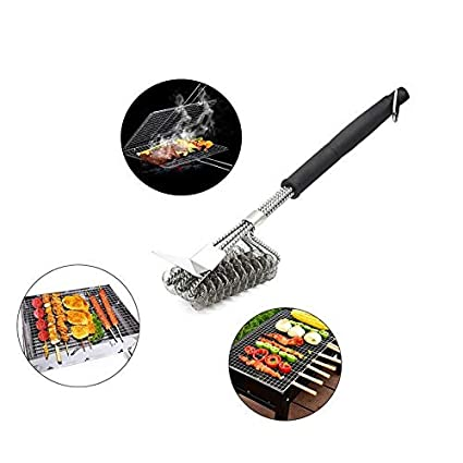 Stainless Steel Barbecue Grill Three Head Brush BBQ Cleaning Tool