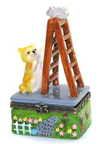 Kitty Cat and Mouse Game Ladder Hinged Trinket Box (Kitty Trinket Box)