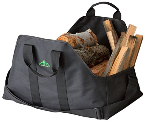 Firewood Carrier with Shoulder Strap Designed for Easier Loading of Large Loads with Less Debris on You and Your Floors Plus Quality Intended To Last. Has Easy Grip Handles and Firm Floor. Buy Heavy Hauler Holder Now and See for Yourself.