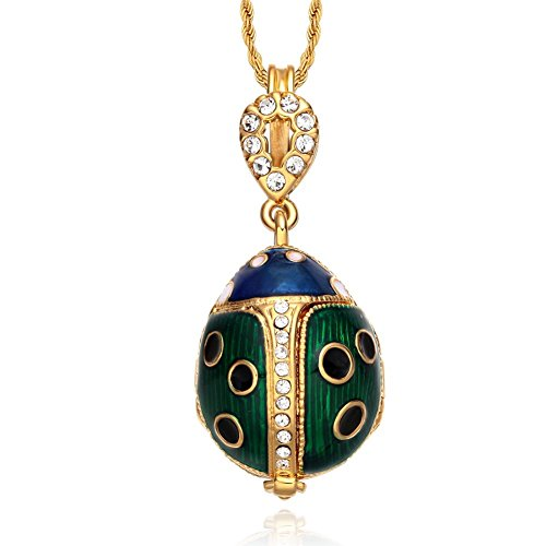 Green Ladybug Pendant (TF Charms® Ladybug Pendant Charm Necklace 18 Inches Locket Design with Flower Charm Inside (Green))