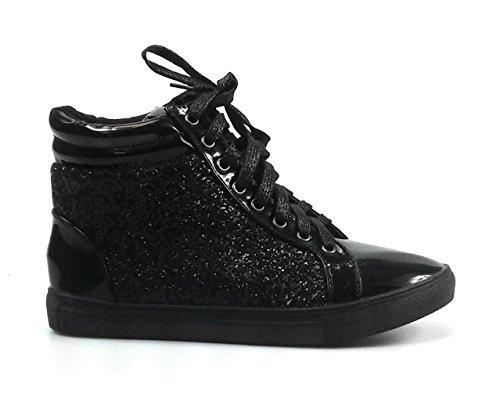 Toujours Lien Sneakers De Mode Paillettes Femmes (10, Noir Sparkle-25)