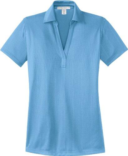 Puerto Diseño elegante abierto con mariposa para mujer solapa Sport-de manga corta de mujer Azul Océano