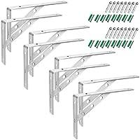 GBGS 10 inch Shelf Brackets, Screws Included, Stainless Steel 201, Rustproof, 130 lb Load Capacity, Heavy Duty DIY Book...