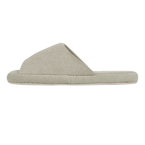Shevalues Womens Open Toe House Slippers Cotton Striped Spa Slippers Casual Memory Foam Arch Support Home Slippers Gray htI89DY