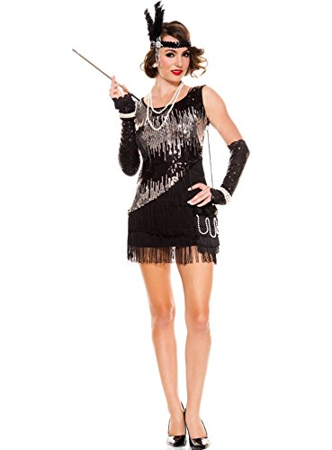 MUSIC LEGS Women's Fearless Flapper, Black/Silver, Small/Medium