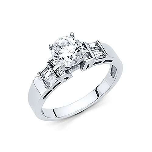 14k White Gold Round Brilliant Cut CZ Channel Set Baguette Engagement Ring