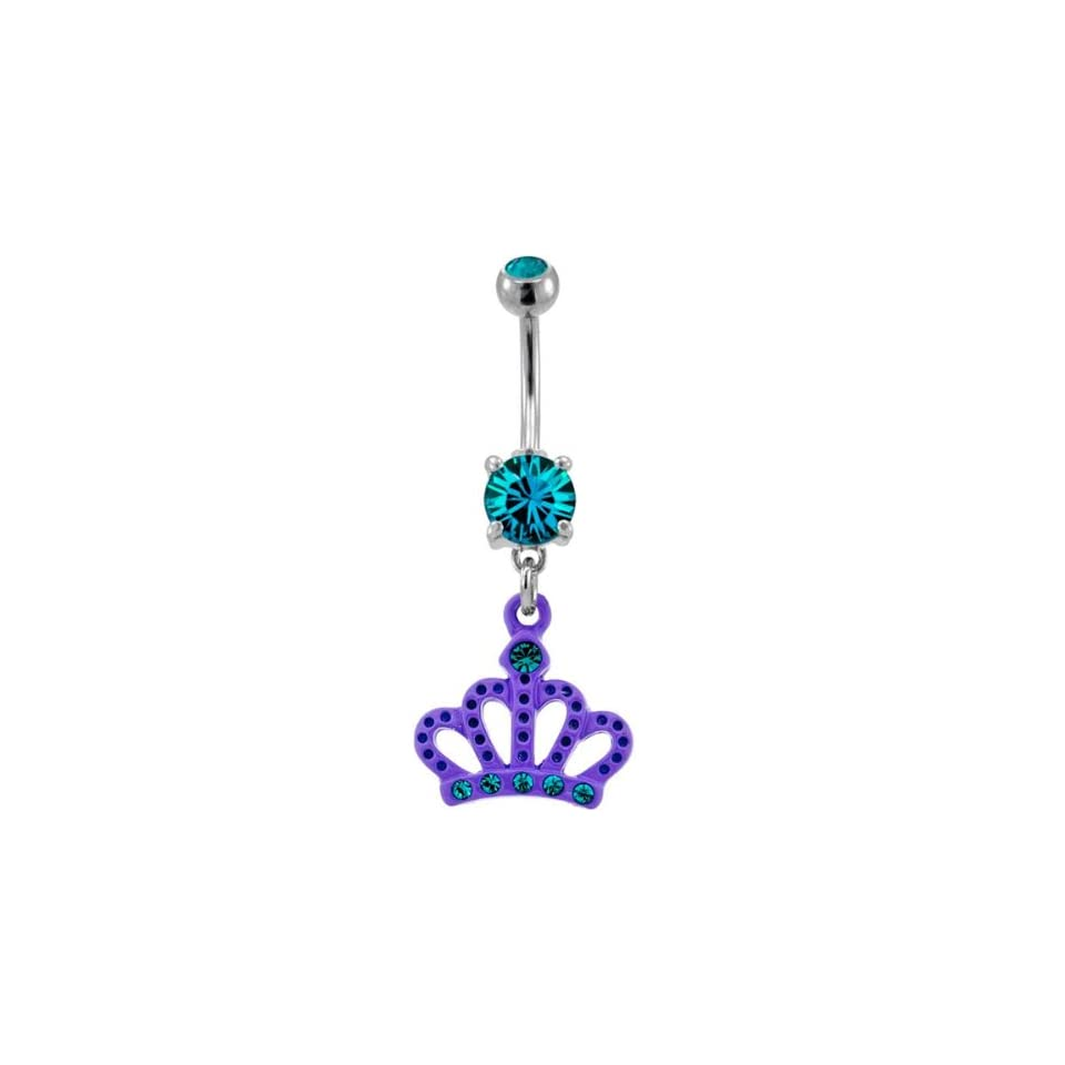 316L Surgical Steel Blue Zircon Prong Set Belly Ring with a Purple Crown with Blue Zircon Gems  14g (1.6mm), 3/8 Length   Sold Individually
