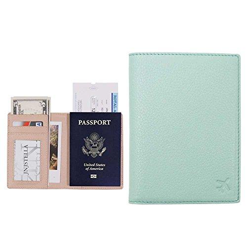 Leather Passport Case (Jnjstella Genuine Leather RFID Blocking Passport Compact Case No Skimming Wallet Sky Blue)