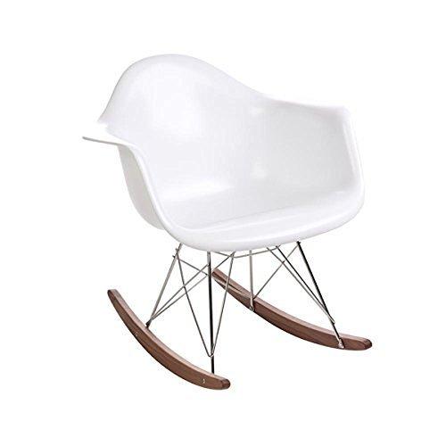[Design Tree Home Eames Mid Century Modern RAR Rocker, White] (Austin Modern Chair)