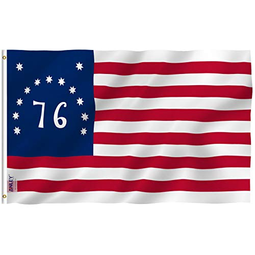 Anley Fly Breeze 3x5 Foot Bennington 76 Flag - Vivid Color and UV Fade Resistant - Canvas Header and Double Stitched - American Revolution Flags Polyester with Brass Grommets 3 X 5 Ft