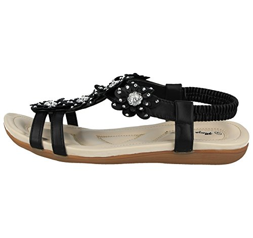 T Faux 101 3 Back Ladies Flip Flat Peep amp; Flop Diamante 8 Leather Toe Flower Sandals Bar Jo Size Fashion Black Joe Sling tBFqxz