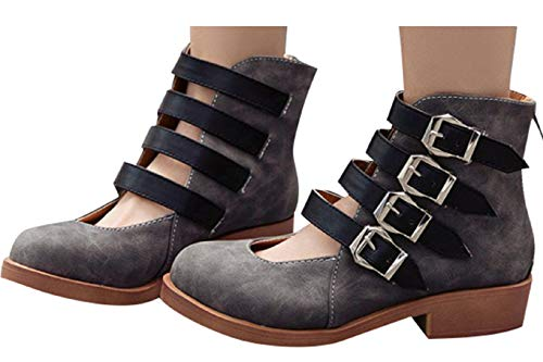 Fainosmny Womens Summer Sandals Boots Ankle Buckle Back Zipper Square Heel Shoes Fashion Wedges Work Shoes Hiking Shoes Gray
