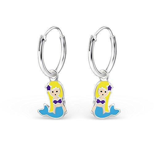 925 Sterling Silver Hypoallergenic Blue & Purple Mermaid on Endless Hoop Earrings for Girls 28054