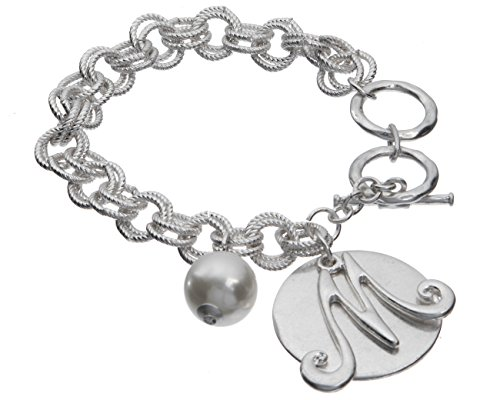 (Jewelry Nexus M Monogram Silver-Tone Overlay Medallion Bracelet Imitation Pearl & Toggle Closure)
