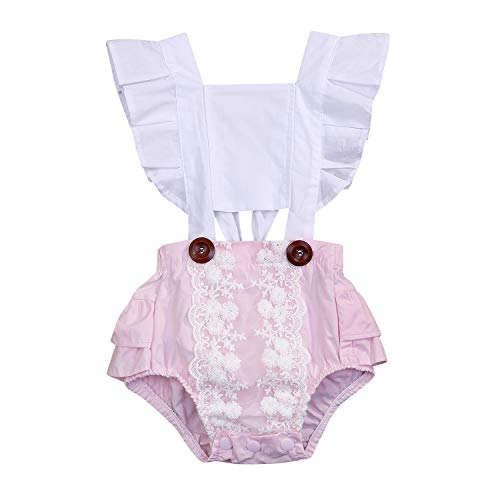 ddler Lace Cotton Romper Pink Ruffles Bodysuit Outfit Clothes Set (12-18Months, White Pink) ()