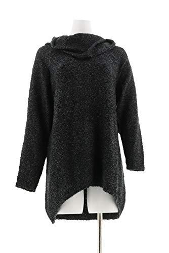 - Denim & Co Long SLV Boucle Cowl Neck Sweater Hi-Low Hem Black L New A260385