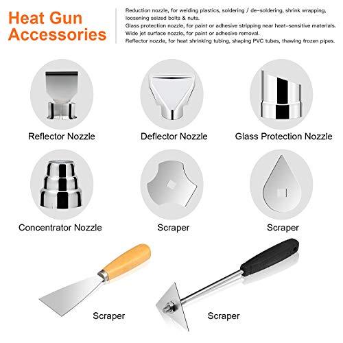 EnerTwist Heat Gun 1500 Watt Variable Temperature Control Hot Air Tool Kit Heating Protect for Shrink Wrap, Vinyl, Paint Removal, Wiring, Soldering, Crafts, Automotive, Tubing, Electronics Repair by ENERTWIST (Image #3)