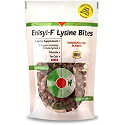 Vetoquinol Enisyl-F Lysine Bites: L-Lysine Treats for Cats & Kittens - Chicken Liver-Flavored Chews, 6.4oz (180g) Reclosable Bag