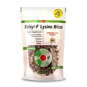 Vetoquinol Enisyl-F Lysine Bites: L-Lysine Chews for Cats & Kittens – Chicken Liver-Flavor, 6.4oz (180g) Reclosable Bag