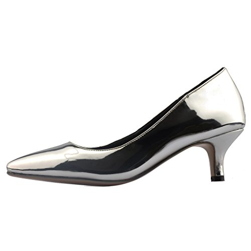 Calaier Damen Cahalfway 5.5CM Stiletto Schlüpfen Pumps Schuhe Silber