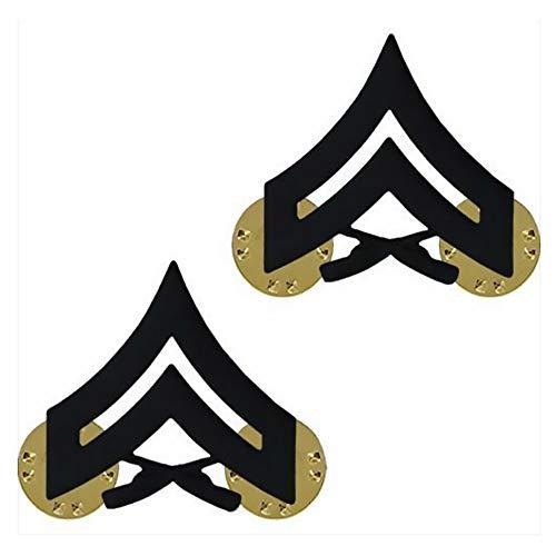 Vanguard Marine Corps Chevron: Corporal - Black Metal, Solid Brass ()