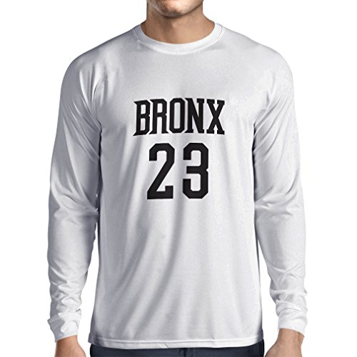 lepni.me Long Sleeve t Shirt Men Bronx 23 - Street Style Fashion (Large White Black)