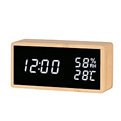 Reliable-E Digital Alarm Clock Bamboo Wood LED Light Desk Alarm Clock Displays Time Date Temperature Humidity (Rectangle)