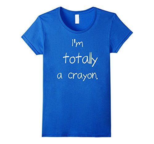 Womens Easy Halloween Costume - Im Totally a crayon tshirt Large Royal Blue