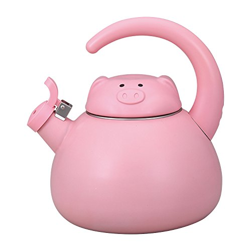 Gourmet Art Pink Pig Enamel-on-Steel Whistling Kettle