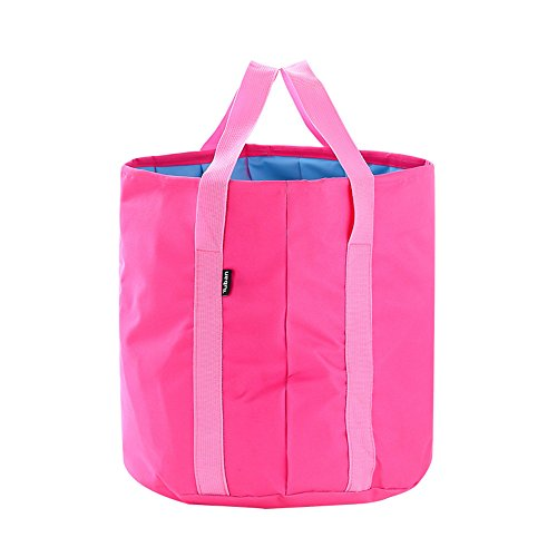 Collapsible Bucket 25L Big Capacity Foldable Pail Portable Water Container Oxford - Lightweight Compact Waterproof - Car Washing Fishing Camping Picnic Hiking Outdoor Travel Beach (fuchsia)