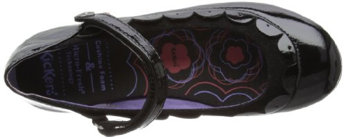 Girls Black Ballet Flats Scallop Kickers MF Verda PTS JF RvdqSwd