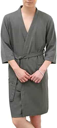 16534a4e7f Pluszing Mens Nightwear Waffle Pure Color Spa Bathing Sleepwear Bathrobe  Robes