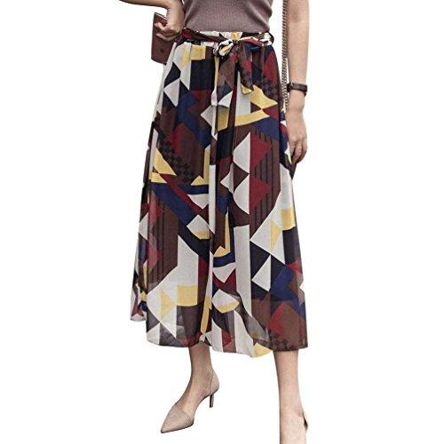 Pantalone Gitter Fashion Libero Palazzo Baggy marca Cintura Gonna Pantaloni Donna Tempo Pantaloni Fiore Culotte Eleganti Larghi Waist Mode Estivi Pantalone Chiffon di High Modello Pantaloni Inclusa dPw41q
