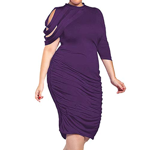 DFHYAR Women's Cold Shoulder Plus Size Casual Solid Cocktail One Shoulder Bodycon Dress(XX-Large,Purple)