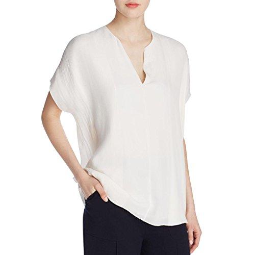 Vince Women's S/S Split Neck Pintuck Blouse, Off White, Small