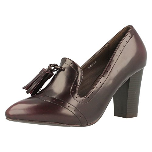 Spot On Ladies Heeled Shoes Burgundy (Red) yxhpxnZ9C