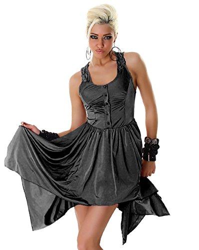 Larella Damen Kleid Träger-Minikleid einfarbig Stickerei am Rücken Cocktail Party Kleid mini Größe 36