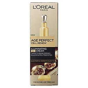 L'Oreal Paris Age Perfect Cell Renew - Crema iluminadora para ojos con aplicador de refrigeración para piel madura, 15 ml