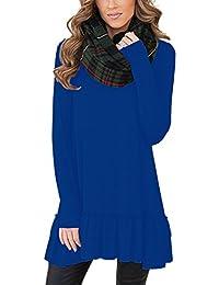 MiYang Women's Long Sleeve Ruffled Casual Loose T-Shirt Dress