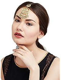 Ratna creation Traditional 18k Gold Plated Wedding Kundan Tikka Hair & head Exclusive Forehead Jewelry