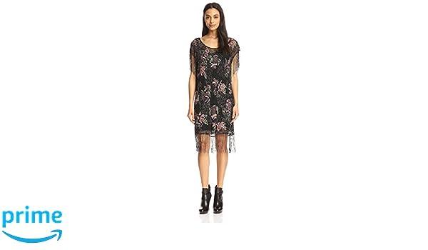 87e7865d61dc Amazon.com: Haute Hippie Women's Floral Beaded Flapper Dress, Black, M:  Clothing