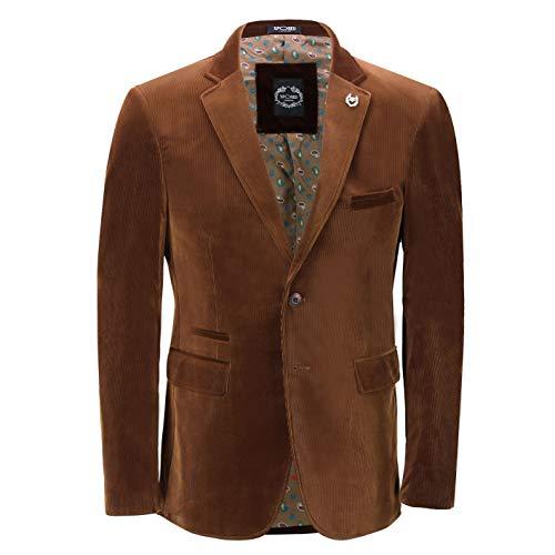 Xposed Mens Soft Corduroy Blazer Coat Vintage Retro Tailored Suit Jacket UK[BLZ-MATTHEW-BROWN-38,Blazer-Brown,Chest UK/US 38 EU 48]