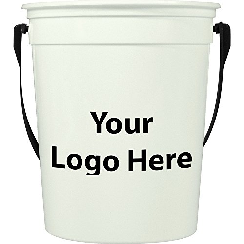 32 Oz. Glow in the Dark Pail with Handle - 250 Quantity - $1.60 - PROMOTIONAL PRODUCT / BULK / BRANDED with YOUR LOGO / (5 Quart Galvanized Metal Bucket)