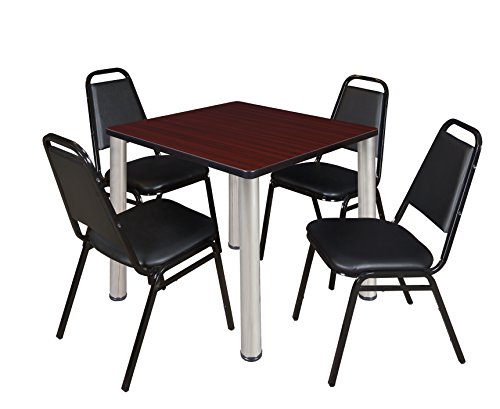 "Kee 30"" Square Breakroom Table- Mahogany/ Chrome & 4 Restaurant Stack Chairs- Black"
