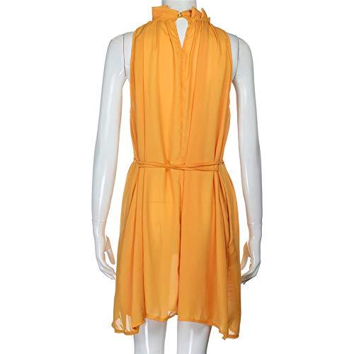Dresses Elegant for Girls,Mlide Women's Sleeveless Summer Plain Pleated Dress Beach Party Casual Dress,Yellow XL by Mlide (Image #5)