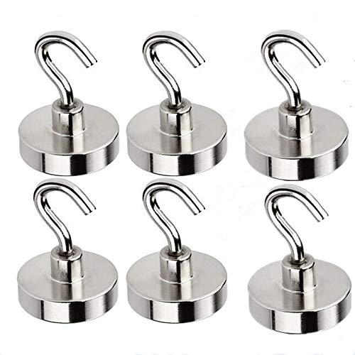 6Pcs Magnetic Hooks Strong Heavy Duty Neodymium Magnetic Hook 32mm Ferrite Clamping Powerful for Refrigerator Steel Wall Home Kitchen Bedroom Bathroom Workplace Office Warehouse Garage 34kg